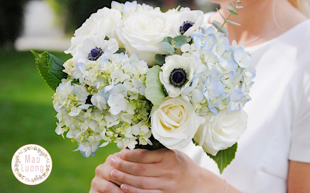 Cầm tú cầu được dùng làm hoa cầm tay cô dâu